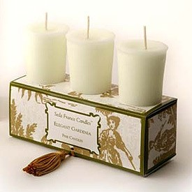 Elegant Gardenia Classic Toile Votive Candles