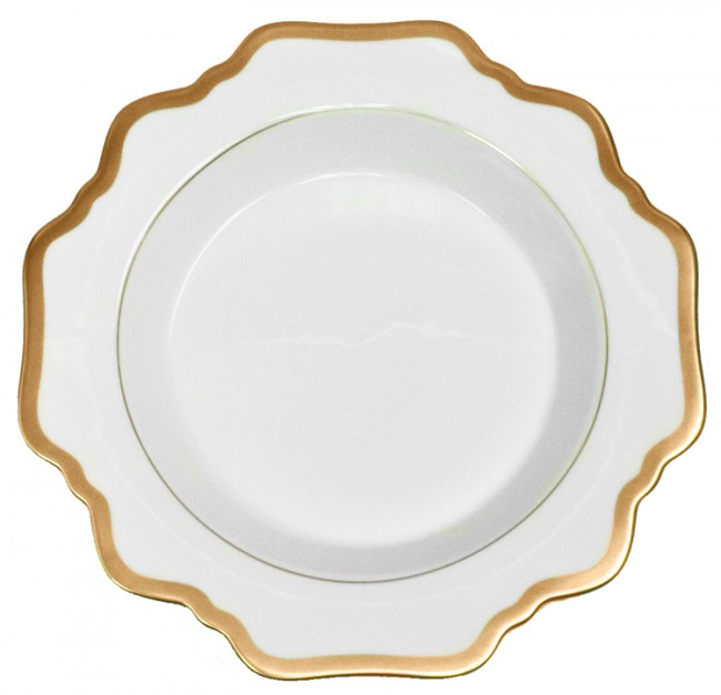 Anna Weatherley, Antique White with Gold Rim Soup Plate