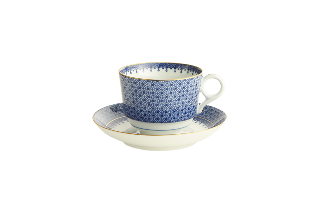 Mottahedeh, Blue Lace Tea Cup and Saucer