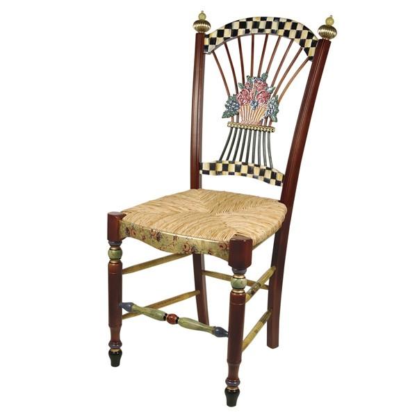 Dark Flower Basket Side Chair