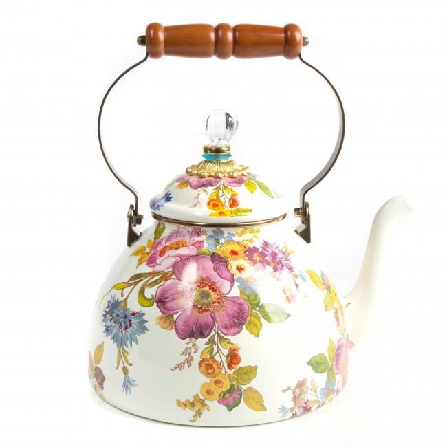 MacKenize-Childs, Flower Market 3 Quart Tea Kettle - White
