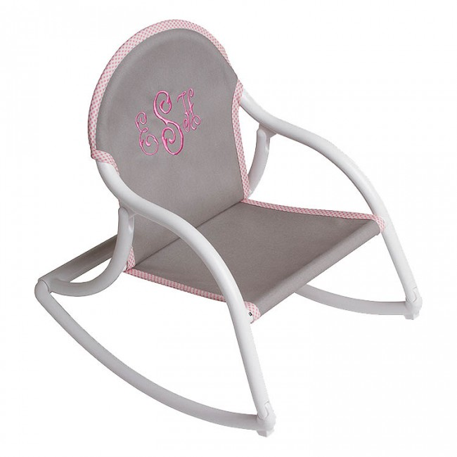 Gray Pink Canvas, Rocking Chair