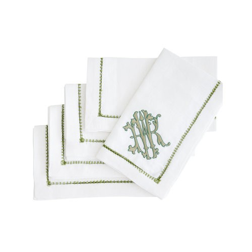 Halo Home Ladder Stitch Dinner Napkin, White with Fresia Monogram