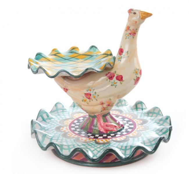MacKenzie-Childs, Ceramic Simon Tiered Platter