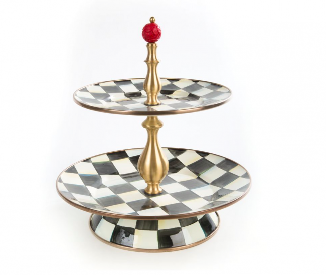 MacKenzie-Childs, Courtly Check Enamel Two Tier Sweet Stand