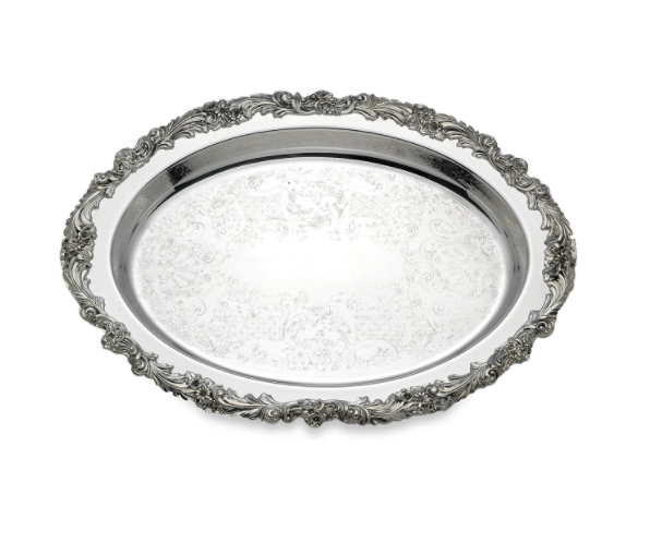 "Reed and Barton, Burgundy Silverplate 16"" Oval Tray"