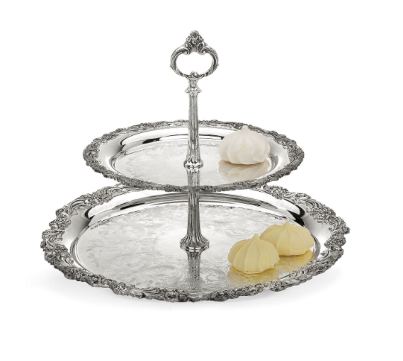 Reed and Barton, Burgundy Silverplate 2-tier Server