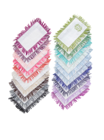 Halo Home Fringe Fold Over Cocktail Napkin with Monogram