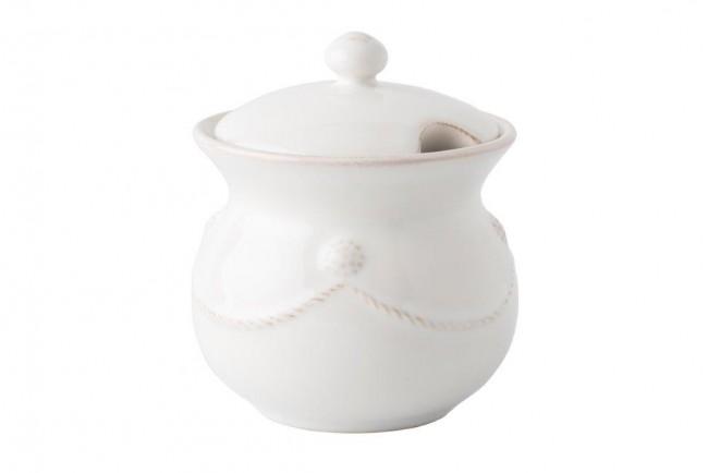 Berry and Thread Whitewash Lidded Sugar Pot