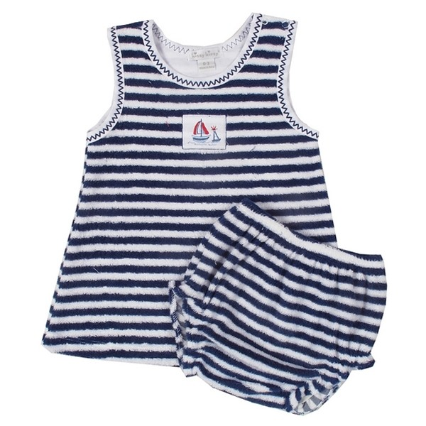 Topsail Terry Stripe Dress with Diaper Cover