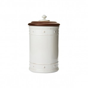 "Berry and Thread Whitewash 10"" Canister with Wooden Lid"