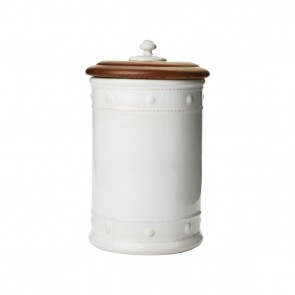"Berry and Thread Whitewash 11.5"" Canister with Wooden Lid"
