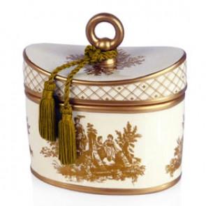 Elegant Gardenia Classic Toile Ceramic Two-Wick Candle
