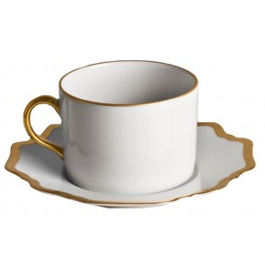 Anna Weatherley, Antique White with Gold Saucer