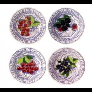 Oiseau Bleu Fruits Set of 4 Dessert Plates Assorted