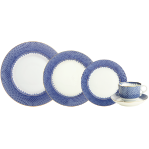 Mottahedeh, Blue Lace 5 Piece Place Setting