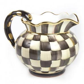 MacKenzie-Childs, Courtly Check Ceramic Fluted Pitcher