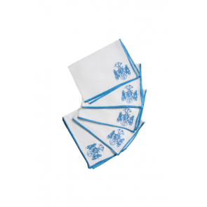 Halo Home, Ocean Color Edge Dinner Napkin with Forget Me Not Monogram