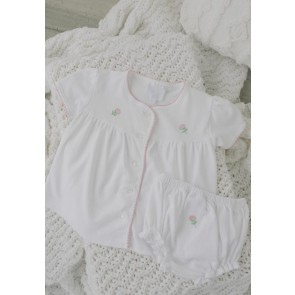 Little English, Pinpoint Layette Knit Set - Flowers