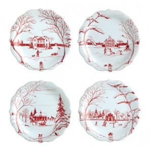 Country Estate Ruby Party Plates, Set of 4