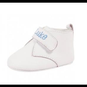 Keepsake Crawling Shoe, White Leather Hi-Top