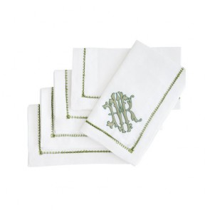 Halo Home Ladder Stitch Dinner Napkin, White with Fresia Monogram