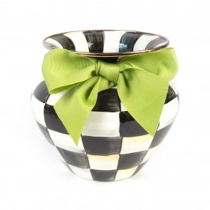 MacKenzie-Childs, Courtly Check Enamel Large Vase - Green Bow