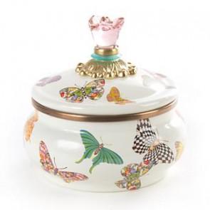 Butterfly Garden Enamel Squashed Pot