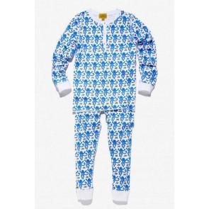 Roberta Roller Rabbit, Monkey Pajama Set - Blue