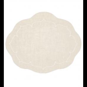 Skyros Designs, Linho Oval Linen Mat Ivory