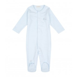 Kissy Kissy Scattered Sleeping Lambs Striped Footie, Blue