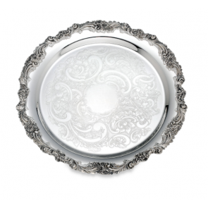 "Reed and Barton, Burgundy Silverplate 13"" Round Tray"