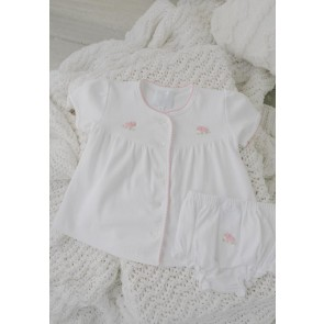Little English, Pinpoint Layette Knit Set - Pink Sheep